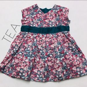 Tea cherry blossom floral baby layer dress 6 12 M